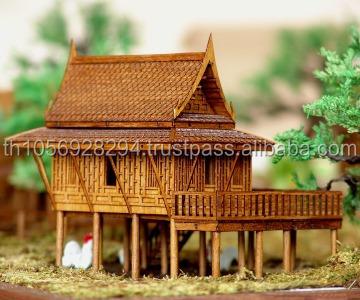 Great CHRISTMAS GIFT THAI TRADITIONAL TEAK HOUSE MINIATURE DREAM HOUSE MODEL HOME  DECOR THAI SPIRIT HOUSE MODEL
