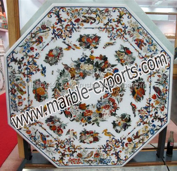 White Marble Inlay Dining Octagonal Table Top Pietra Dura Dinning Table Top