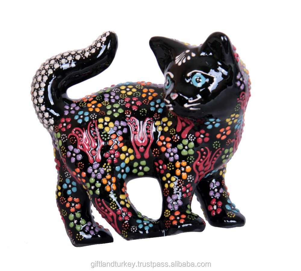 Cat Pin Light and Dark Blue Dotted Painted Ceramic and Rhinestones Bright Gold Tone Detailed Kitty