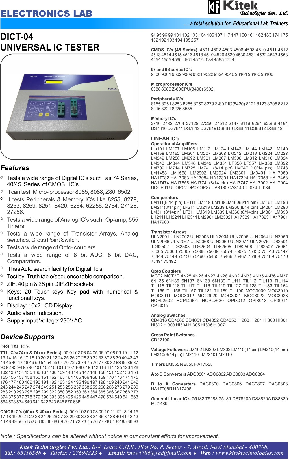 digital ic tester/analog ic tester/ic tester