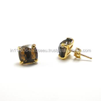 Smoky Quartz Stud Earrings Gold Post Tiny Gemstone Studs