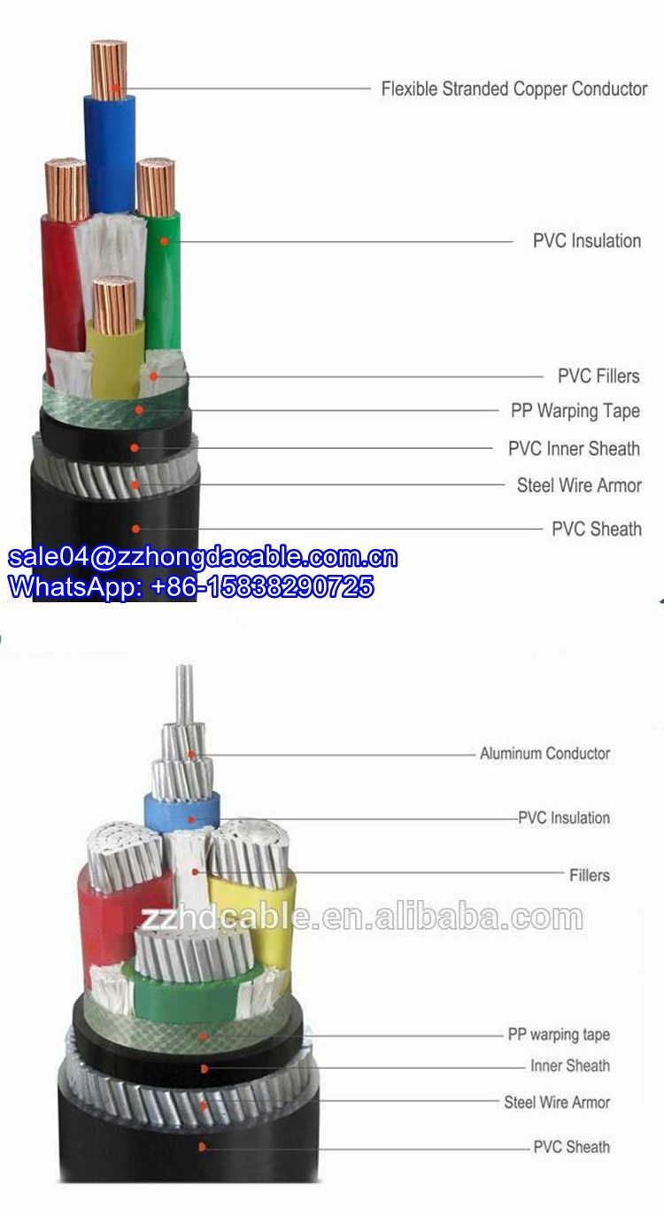 12kv 240mm Xlpe Swa Galvanized Steel Wire 4 Core Armoured Pvc Cable Armored Wiring