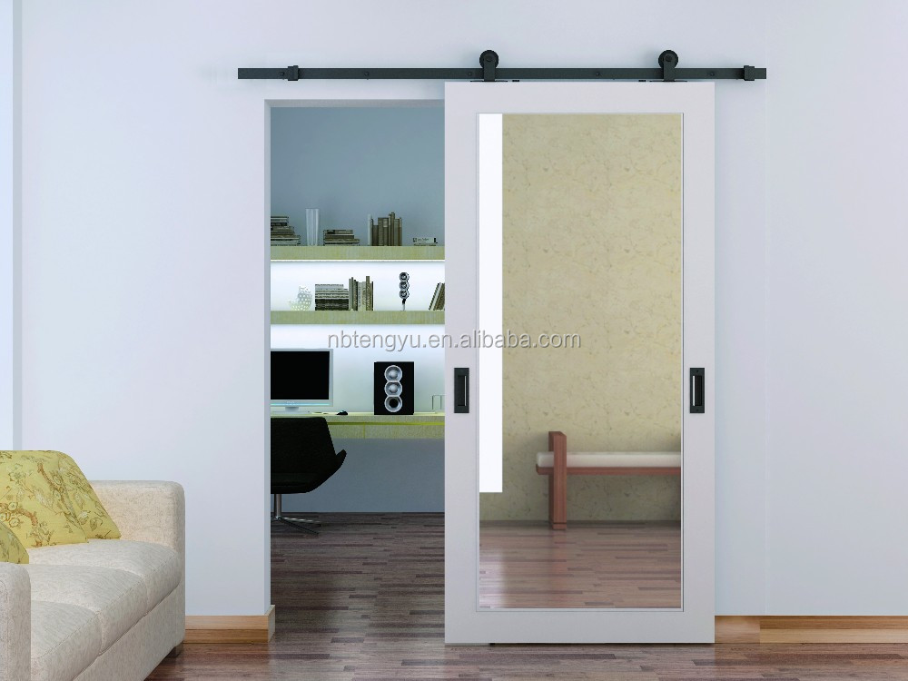 Awesome White Mirrored Barn Door Used For Bathroom And Hotel