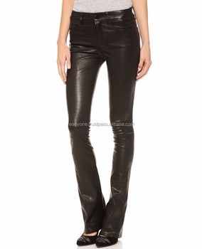 c04fb21b60ceb7 high quality skinny women leather pants in black color with elastic waist    Leather