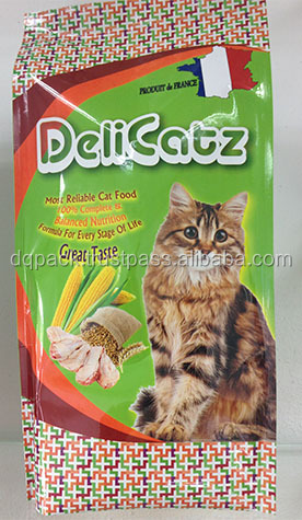 custom printed pet food packaging bag, dry cat food 4 side seal plastic bag, high quality cat pet food packaging bag
