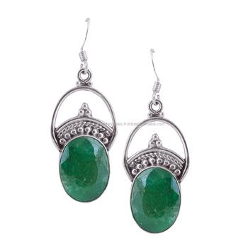 wholesale sterling silver gemstone earrings indian emerald