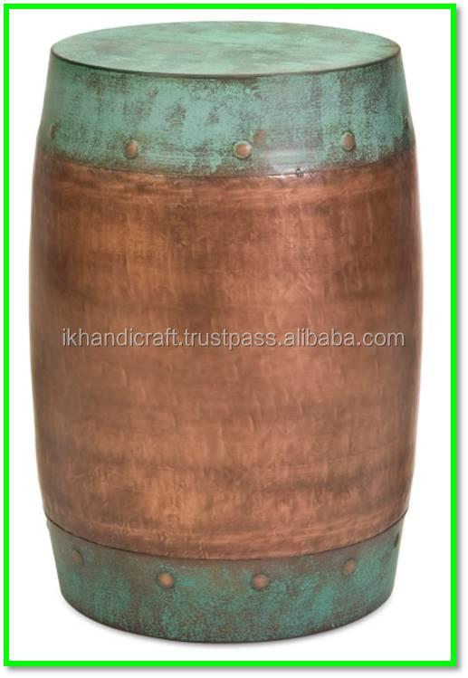 Copper Antique Drum Style Metal Stool /aluminium Side Table ...