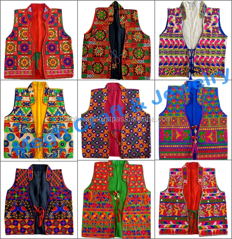Online Lot wholesale Indian Handmade ladies cotton sleevless shrug-Kutch  embroidery short jacket-Gujarati