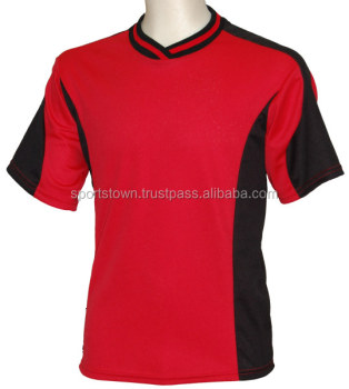c02a0c7b1ff wholesale soccer club uniform custom blank 100 polyester short sleeve red  black soccer jersey
