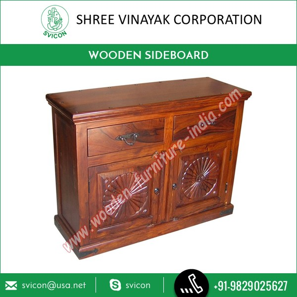 Sheesham Wood High Grade Sideboard With Carved Designs For