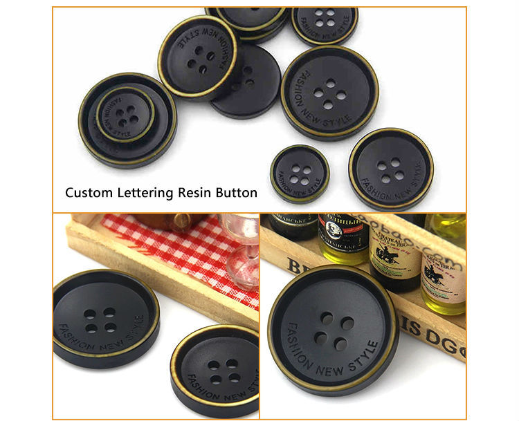 alphabet letter laser engraved resin button