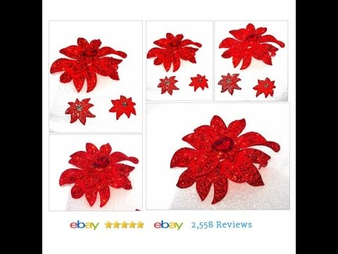 Red Christmas Poinsettia Brooch and Earrings set CHRISTMAS