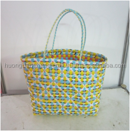 wholesale hand weaving PP plastic woven beach bag/ basket, food/fruit bag