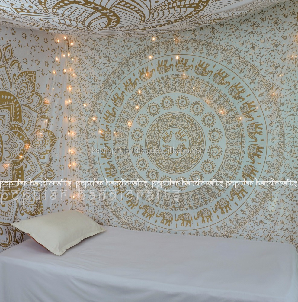 Wall Tapestry Kp648 Large White elephant Ombre Tapestry Indian Mandala Wall Art Hippie Wall Hanging Bohemian 84x90 Inches