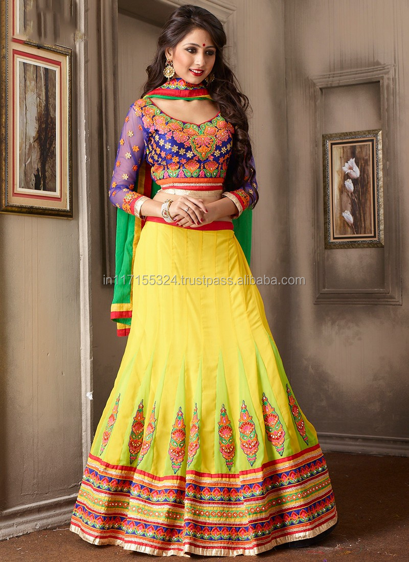 Rajasthani Lehenga Choli Designs - Yellow Georgette Party ...