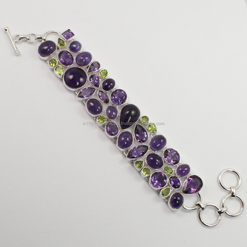 925 Sterling Silver Jewelry Natural AMETHYST, PERIDOT Gemstones Party Wear Cluster Statement Bracelet for women