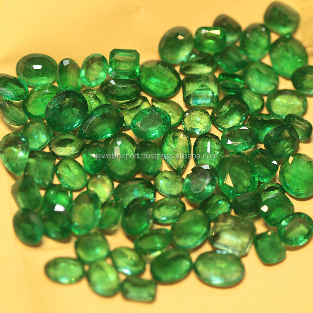 Natural Mix Shape AAA Quality Large Size Lot Zambian Green Emerald