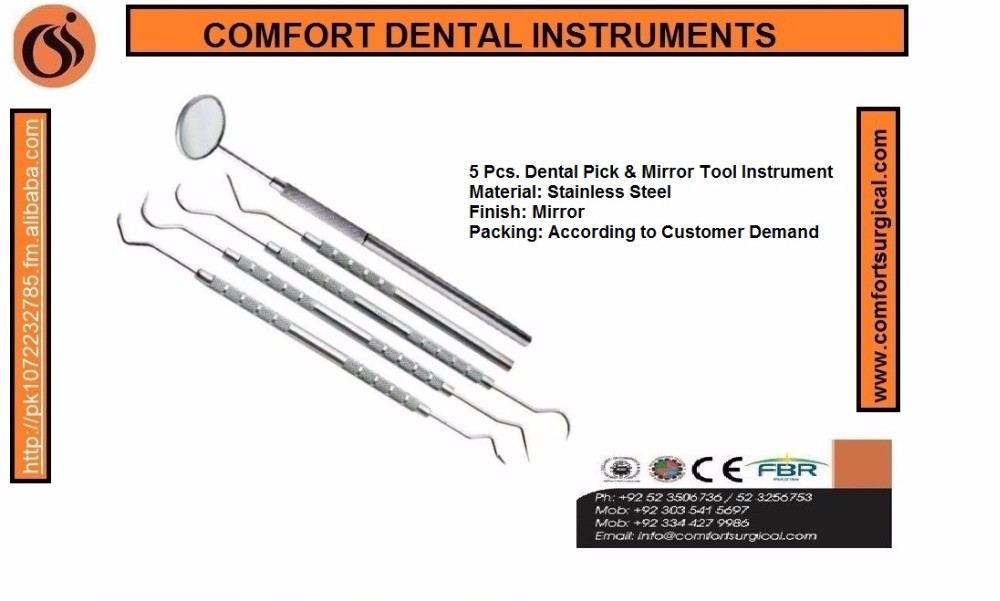 Dental instruments pick tool kit stainless steel 5 pieces kit