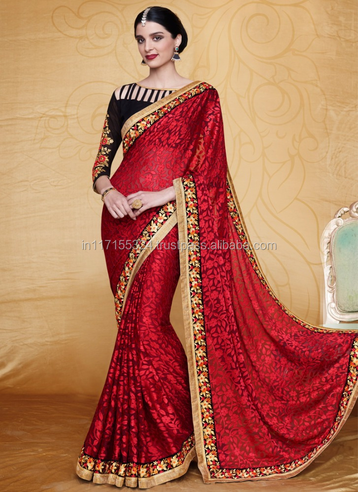 Simple Designer Saree By Kesari Exports - Red Color Brasso Saree ...