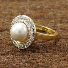 Indian AD Pearl Stone Ring US Size 6.25 American Diamond Band Party Jewelry ADR50A