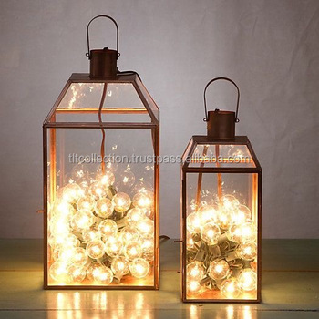 Led glass lanterns glass candle lantern metal lantern home Home decor lanterns