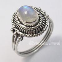 RAINBOW MOONSTONE Gemstone 925 Sterling silver rings