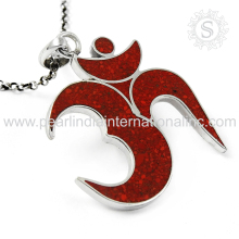 shimmering Red OM Design 925 Sterling Silver Jewelry With Inlay Gemstone Silver Jewelry Handmade Silver Jewellery EXPORTER