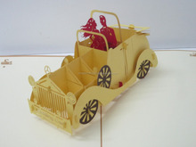 Wedding car 3d pop up greeting card
