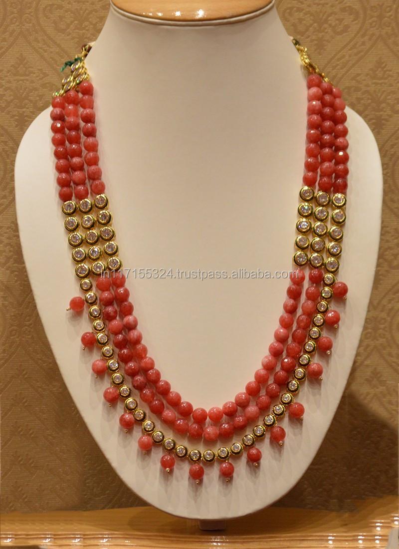 One Line Kundan Jewellery Mala For Beads And Diamond - Buy Pearl ...