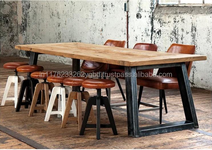 10 places pais jambe de fer rustique plateau en bois table manger table manger id de. Black Bedroom Furniture Sets. Home Design Ideas