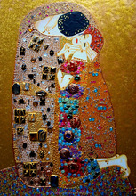 Famous Gustav KLIMT The KISS. Painting of the rhinestones, glitter, sequins. Original artwork 100% HANDMADE acrylic Gold petal