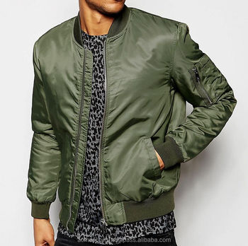 Bomber Jacket - Olive Green Strapped Bomber Jacket / Army Green ...