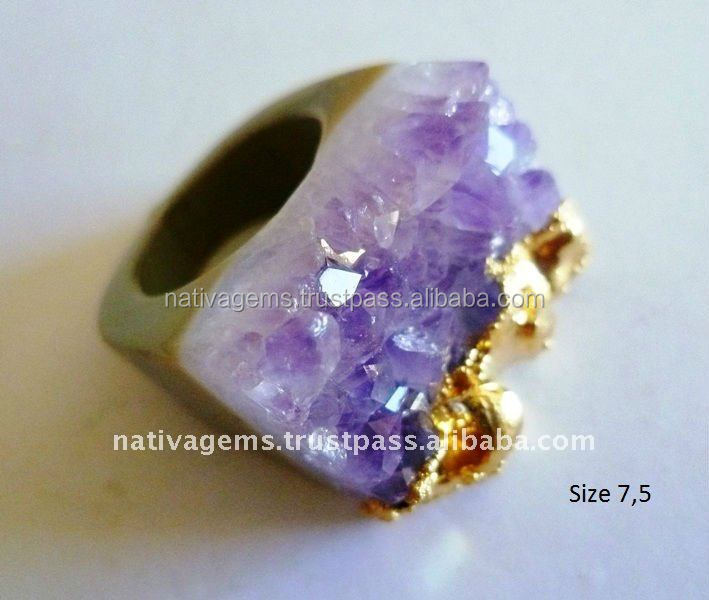 AGATE DRUZY RING SILVER OR GOLD PLATED FROM BRAZIL