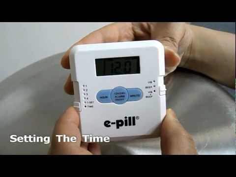 Pill Box 4 Alarm Vibrating Pocket Pill Timer from e-pill Medication Reminders Set-up instruction.