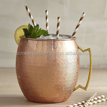 16 Ounce copper Moscow mule 100% pure copper mug | Copper mug holder | Hammered copper mug