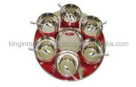 King International Diwali Gifts/Christmas Gifts/Emboss Stainless steel serving plates and dishes food tray