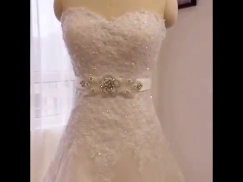 sweetheart neckline lace wedding dress with belt by Chinese wedding dress supplier Amanda Novias