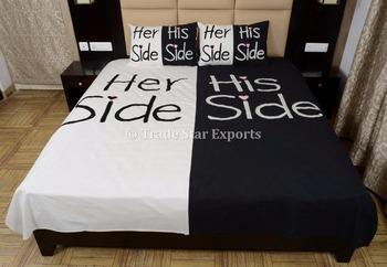 Copriletto Her Side His Side.Indiano Tessuto Di Cotone Del Ricamo Delle Coppie Di Disegno