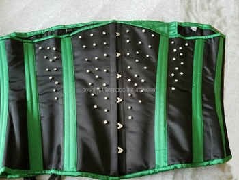 7f27be9096 Corsets Supplier   Underbust 24 Double Steel Boned Waist Training Green And  Black Satin Corset Supplier