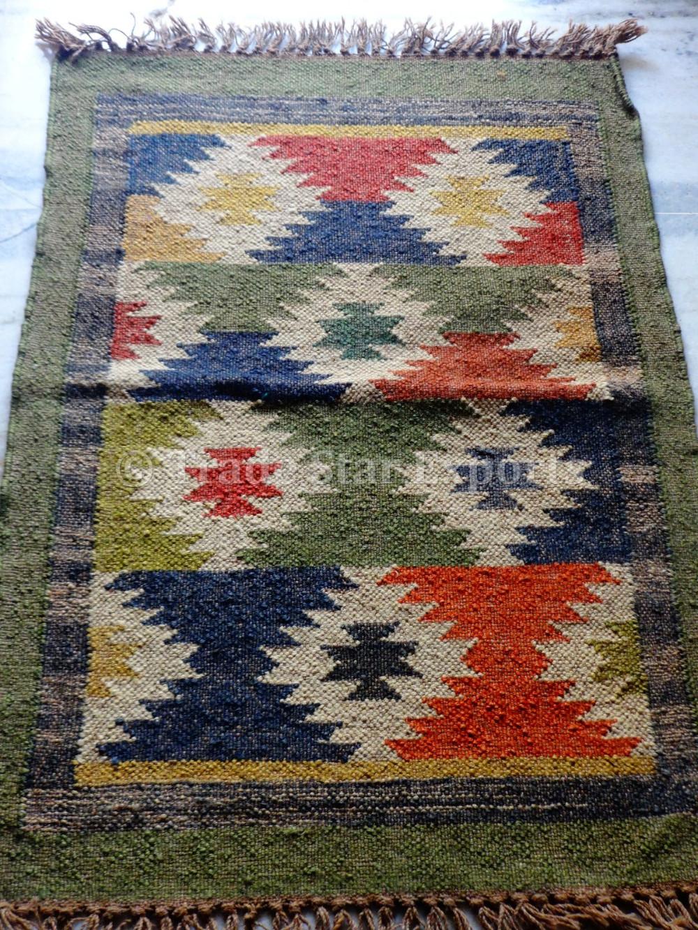 Indian Jute Kilim Rug 2X3 Ethnic Hand Loomed Carpet Rug Runner Area Throw Rugs
