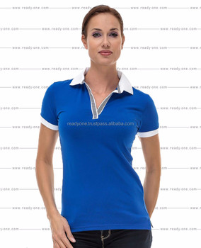 wholesale blank women polo t shirt  cotton + spandex tight slim fit polo t  shirts 3a9fdccb8