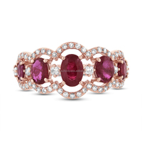 18kt Rose Gold Pave Diamond Ruby Gemstone Ring Wholesale Jewelry Supplier