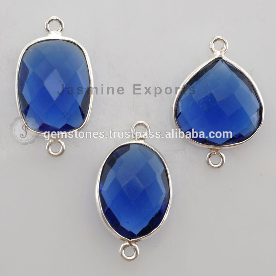 Wholesale 925 Sterling Silver Bezel Setting Connectors, Blue Sapphire Quartz Natural Gemstone Connectors