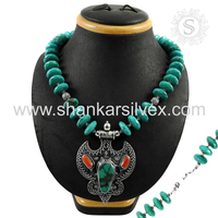 Strong High Quality Coral Turquoise Necklace Wholesale Offer 925 Silver Jewelry Handmade Silver Jewelry India