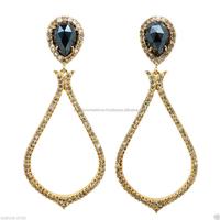 Dangle Earring Jewelry, Black Spinal Gemstone 14k Gold Designer Diamond Pave Earring, Natural Diamond Pave Fashion Earrings