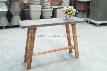 Concrete Console Table With Wood Frame.
