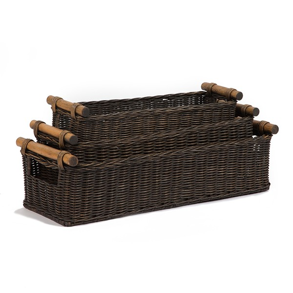 Custom Long Narrow Wicker Basket With Pole Handle
