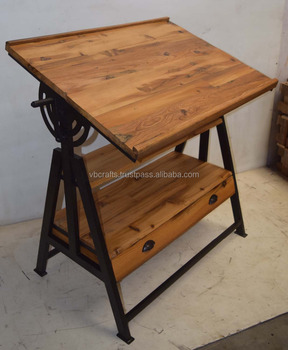 Charmant Industrial Vintage Draft Table With Drawer Reclaimed Railway Sleeper Wood