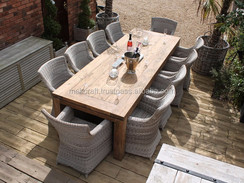 Wicker rattan outdoor big wood dining table and 10 chair set for patio garden dining set furniture Restaurant / Hotel/ Resort