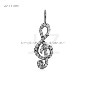 925 sterling silver pave diamond treble clef charm musical note 925 sterling silver pave diamond treble clef charm musical note pendant wholesale diamond charms jewelry supplier aloadofball Image collections